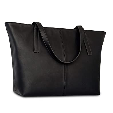 b25b04d9704a Amazon.com  Handbag Shopper Tote Bag Women Black - Expatrié - Big Shoulder  Bag Vegan Leather  Clothing