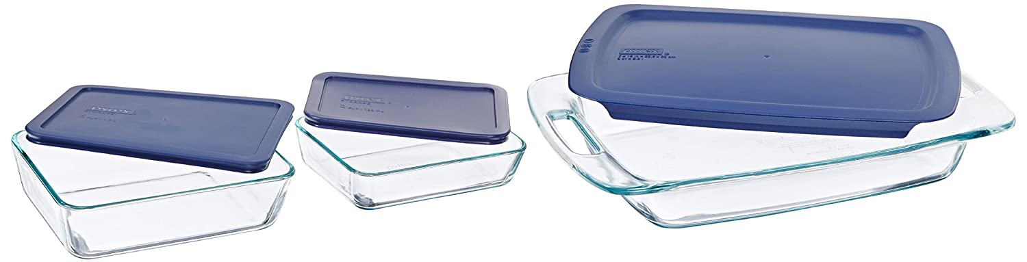 Pyrex Easy Grab 6-Piece Glass Bakeware and Food Storage Set World Kitchen (PA) 1090529