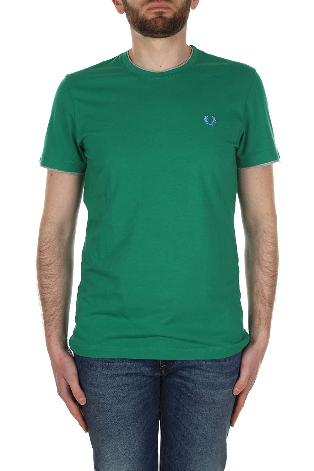Fred Perry - Camiseta - para Hombre Multicolor Verde: Amazon.es ...