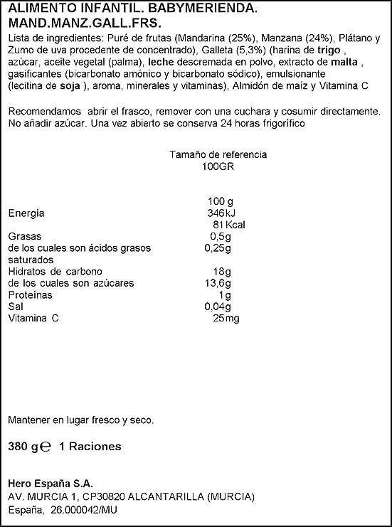 Hero Baby Merienda Mandarina, Manzana y Galletas - Pack de 2 x 190 g - Total: 380 g: Amazon.es: Amazon Pantry