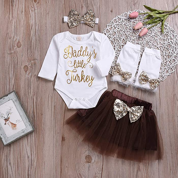 ba744a42d Toddler Baby Girl 0-24 Months Clothes Letter Romper Tops+Tutu Skirt  Thanksgiving Outfits Set Black