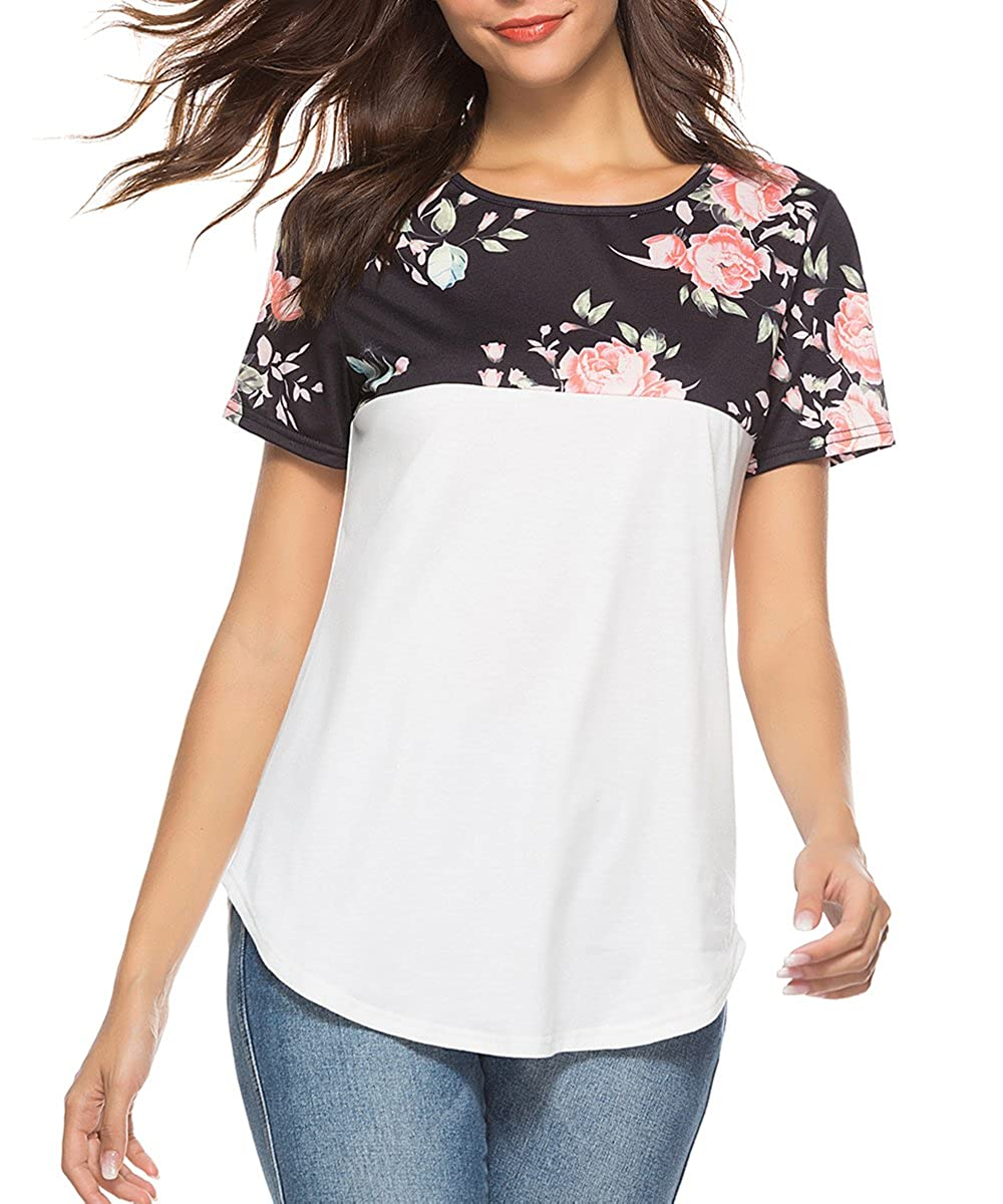6e545cd644809b LovInParis Women\'s Floral Short Sleeve Tops Summer Casual T-shirt White  Blouses LovInParis own its Trademark,Please confirm you buy from