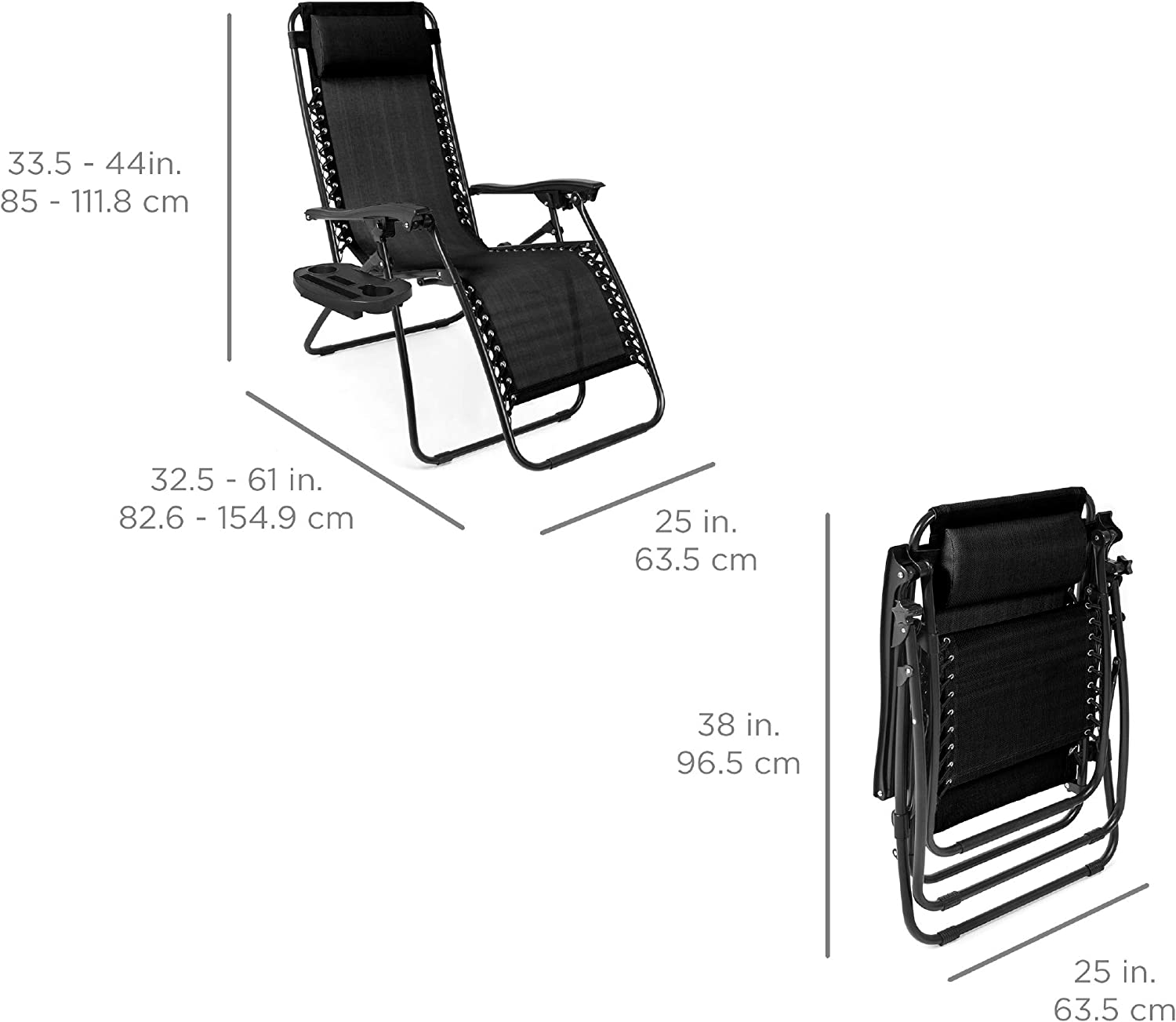 Best Choice Products Zero Gravity Chair dimensions