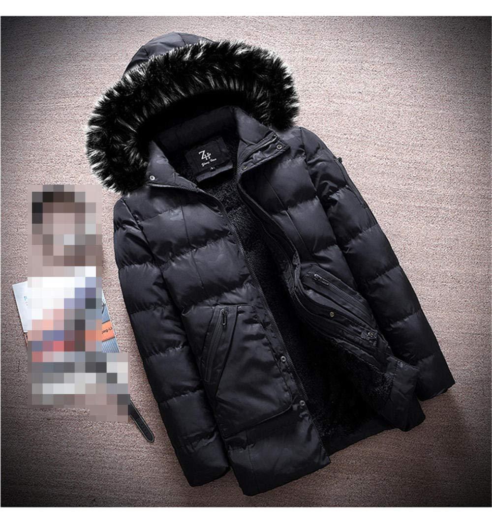QIN-ER- Men's outerwear Veste en Coton pour Hommes de Style européen et américain Veste en Coton pour Hommes Outwear d'hiver Black
