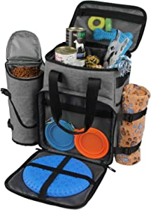 Hilike Premium Pet Travel Bag for Dog & Cat-Week Away Tote Organizer Bag for Dogs Travel-Includes 1 Dog Tote Bag,1 Dog Food Carrier Bag, 2 Silicone Collapsible Bowls,1 Blanket,1 Frisbee(Grey)