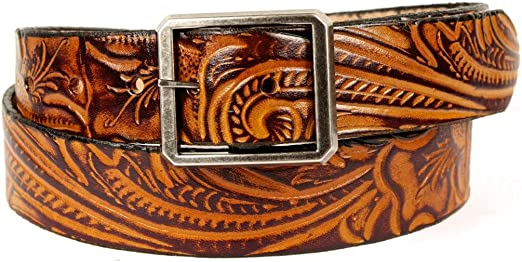 1 1//2 Oak Leaf Embossed Classic Western Style Belt. Mens Casual Belt