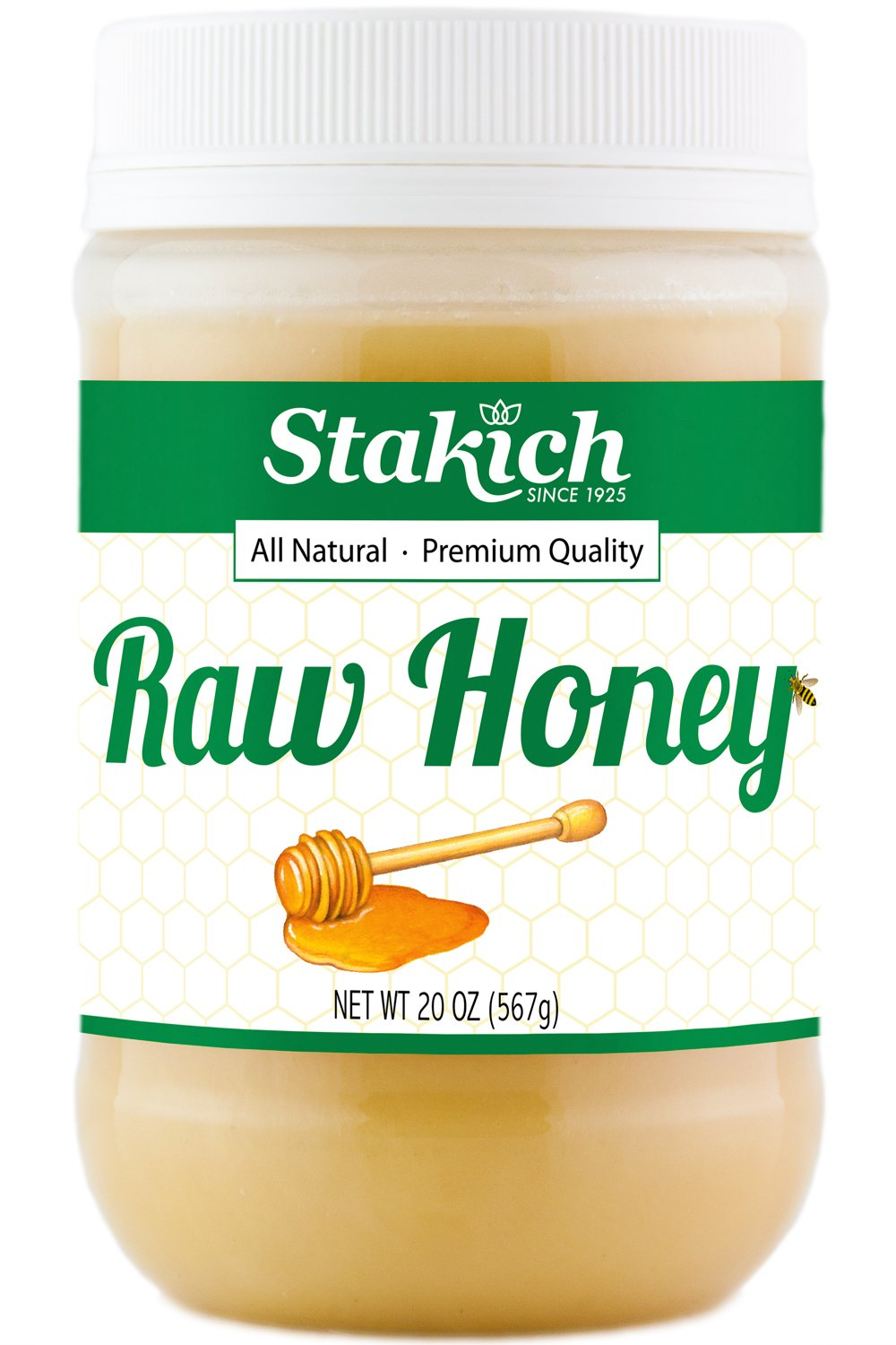 Stakich RAW HONEY - 100% Pure, Unprocessed, Unheated, KOSHER (20 Ounce)