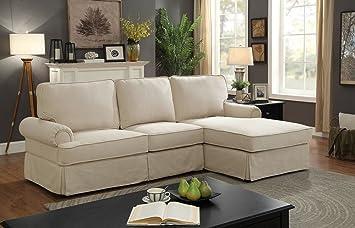 Amazon.com: Badalona II Beige Fabric RAF Sectional Sofa by ...