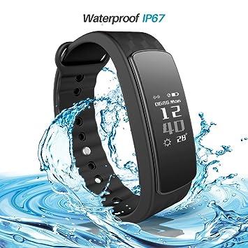 iWOWN i3HR: Pulsera inteligente monitor de entrenamiento con Bluetooth 4.0, impermeable, con reloj, monitor de ritmo ...