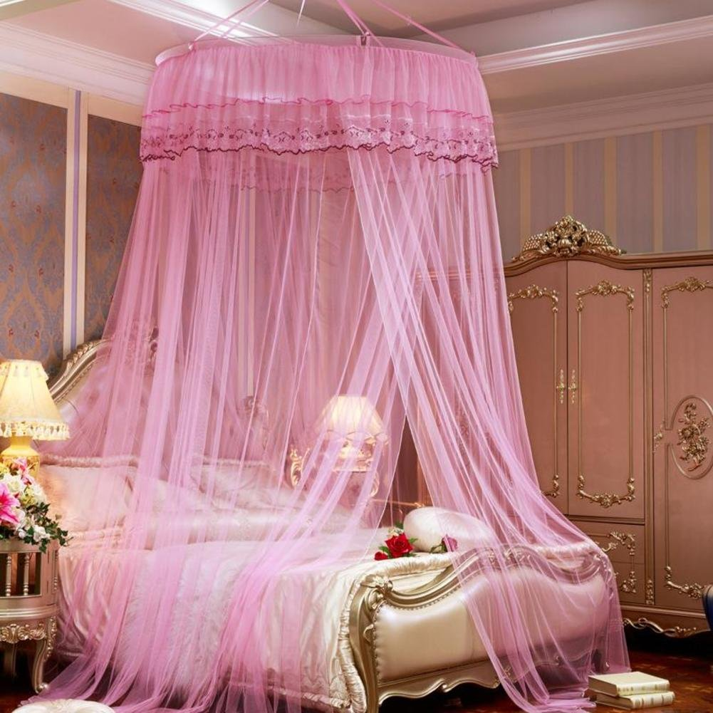 European ceiling round mesh mosquito net,Princess style pink microfiber bed canopies-A Queen2