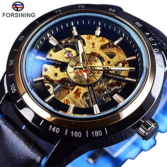 MOZISEN Hermoso y Elegante Reloj FORSINING / 350 Reloj mecánico de Cinta de Hombre Reloj mecánico