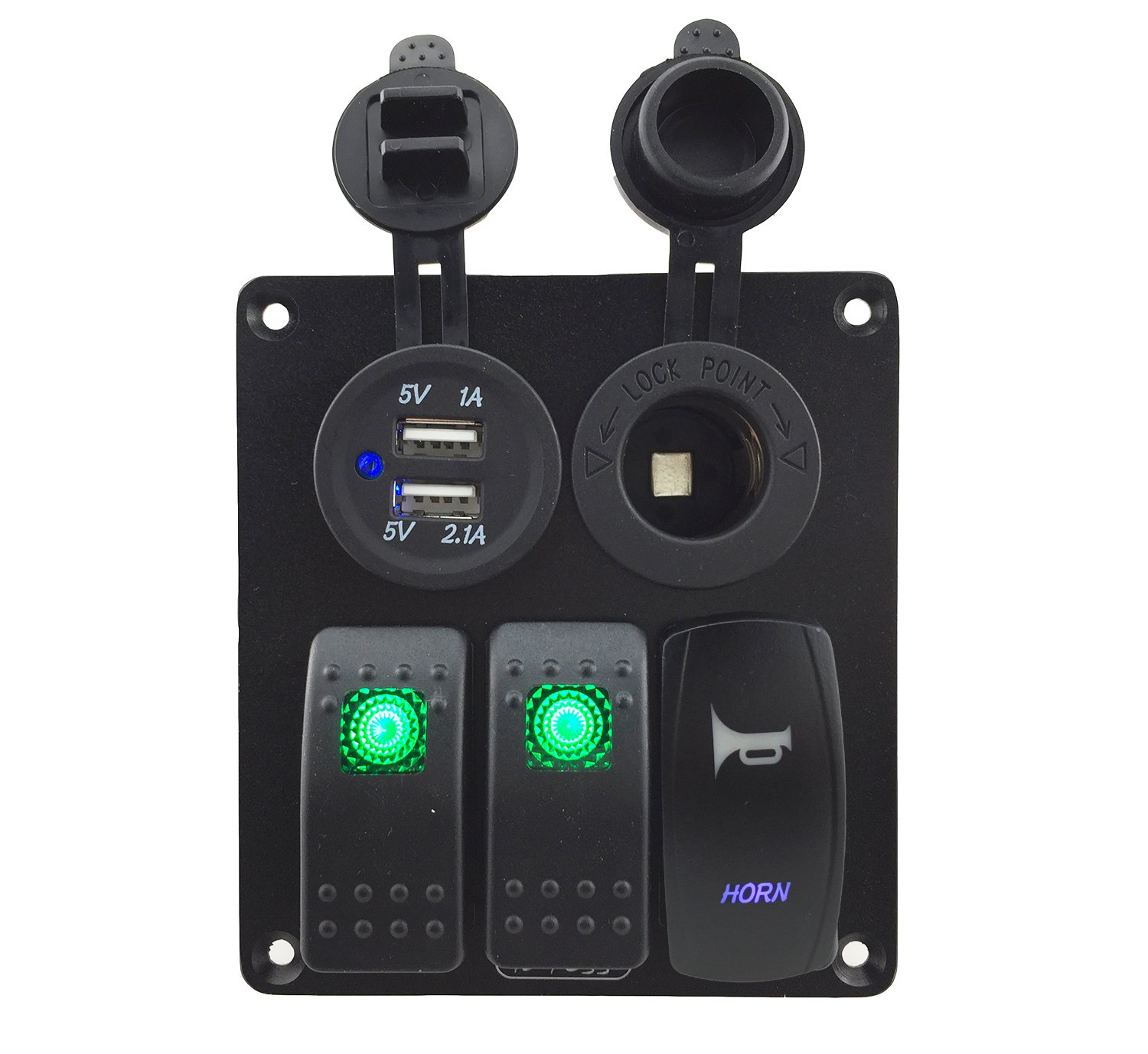 IZTOSS 3 gang rocker switch and horn switch panel with power socket 3.1A dual USB wiring kits and Decal Sticker Labels DC12V/24V for Marine Boat Car Rv Vehicles Truck green led by IZTOSS