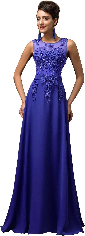 TALLA 40. GRACE KARIN Vestido Elegante para Boda Ceremonia De Vuelo Encaje Floral Precioso Maxi Azul 40