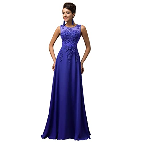 Maxi Chiffon Wedding Bridesmaid Dress A-Line Long Evening Ball Gowns Dress UK Size 6