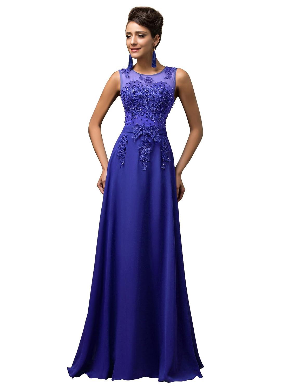 TALLA 48. GRACE KARIN Vestido Elegante para Boda Ceremonia De Vuelo Encaje Floral Precioso Maxi Azul 48