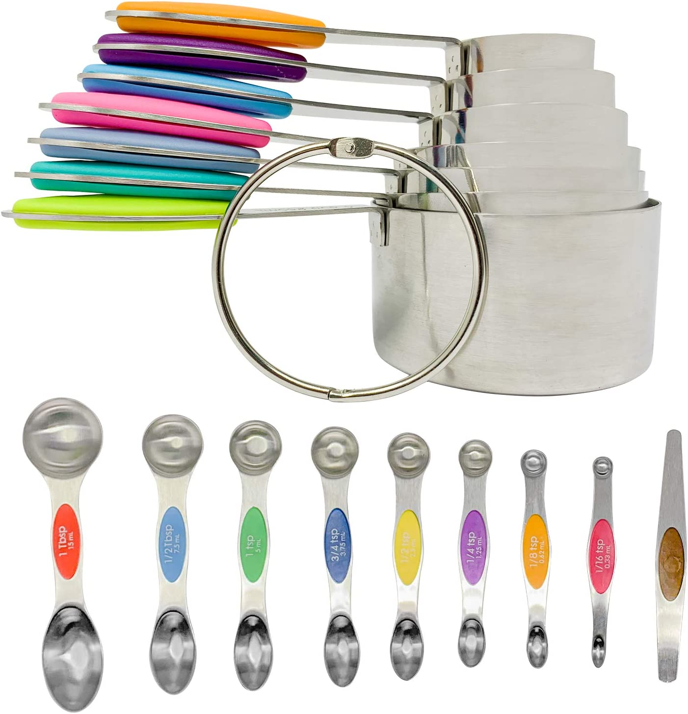 Measuring Cup Set with Magnetic Measuring Spoons by Bakeess – 8 Pieces Stackable Stainless Steel Measuring Cups for Liquids and Dry Ingredients – 7 Double Sided Tablespoons with Leveler