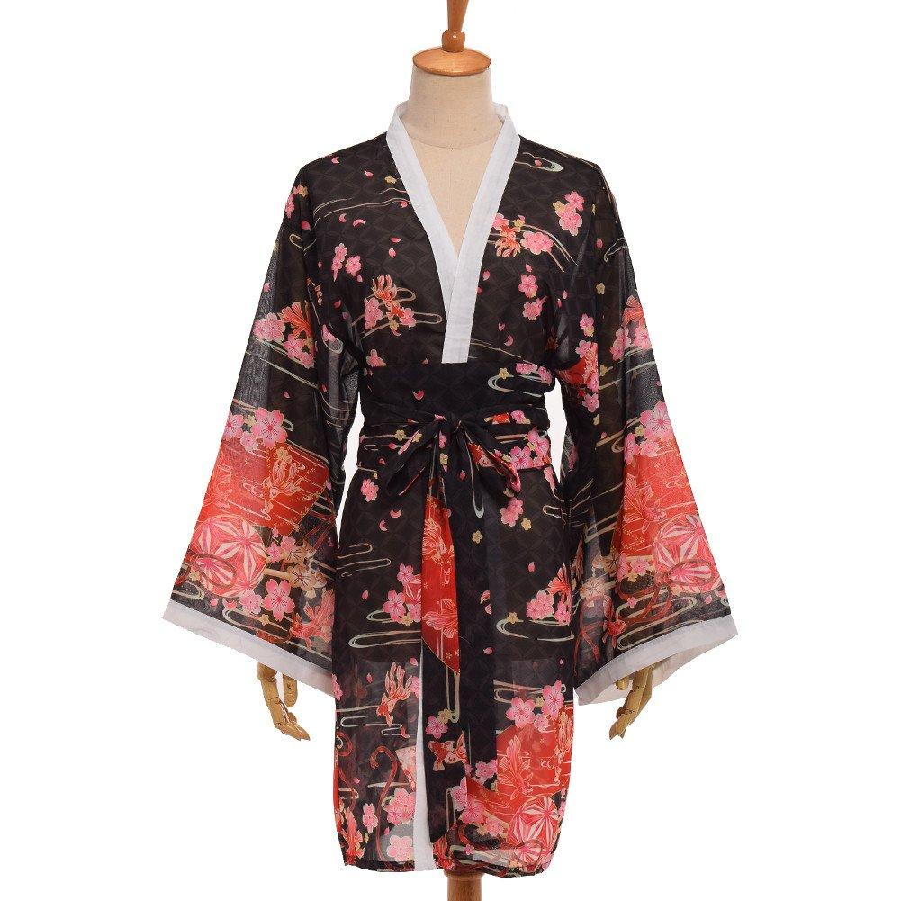 GRACEART Women's Sakura Kimono Yukata Bathrobe with Waistbelt