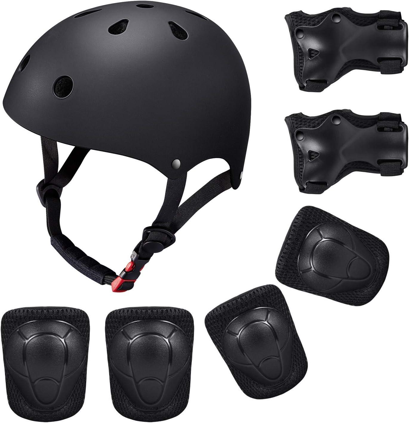 Casco y Protecciones Bicicleta Patines Monopatín Tamaño Ajustable Infantiles Rodilleras Coderas Muñuequeras Deportivos BMX Skate Longboard (Negro)