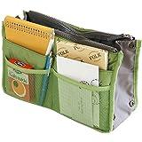 Hee Grand Women's Handbag Organiser Liner Tidy Travel Cosmetic Pocket Insert 12 Pockets Large Green