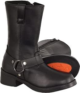 Milwaukee Leather MBK9280 Boys Black Classic Harness Biker Boots - 2.5