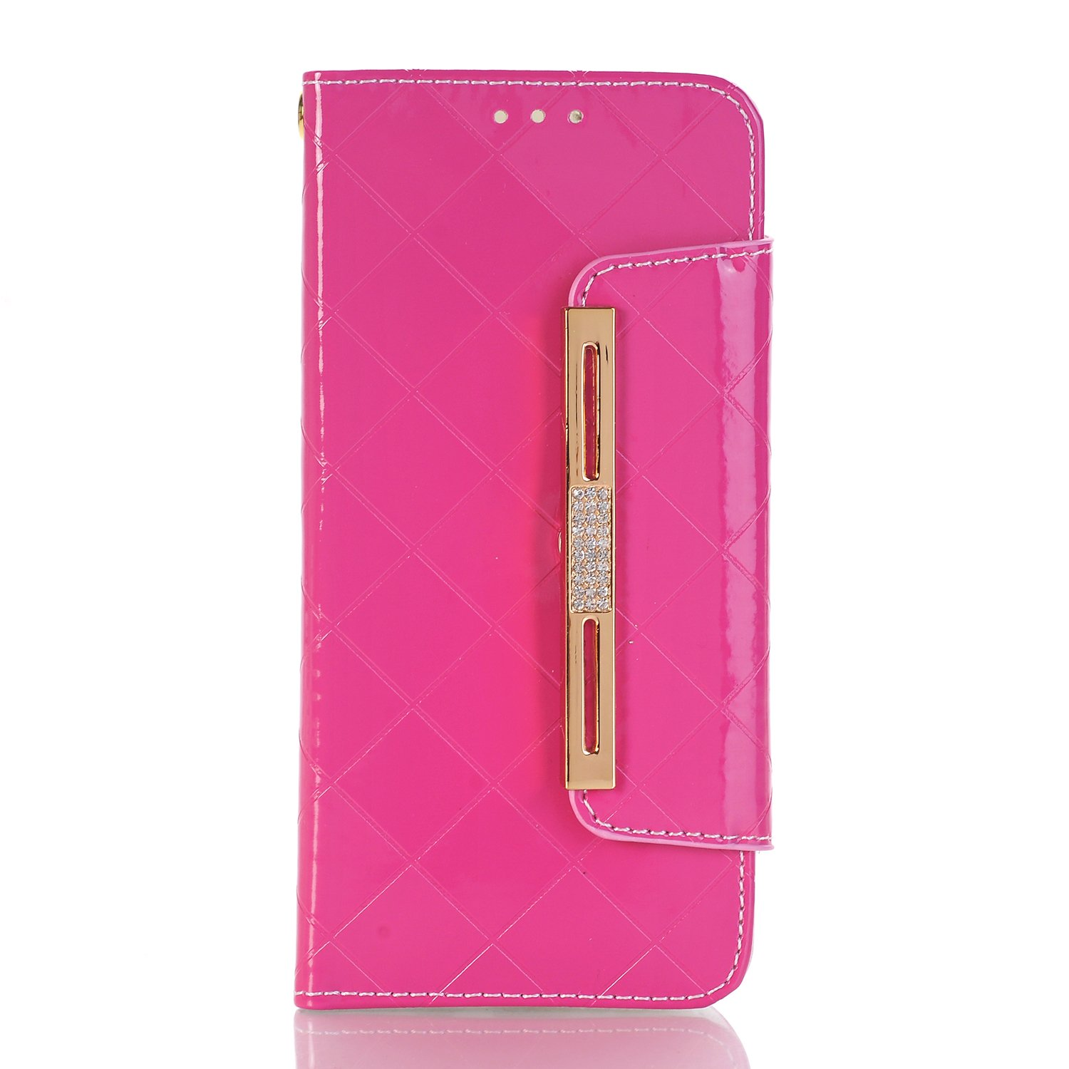 Samsung Galaxy S8 Plus Wallet Cover,Stylish Cute Women/Girls Wallet Case with Wrist Strap, YiMiky PU Leather Flip Card Holder Shockproof Protective Case for Samsung Galaxy S8 Plus-Hot Pink