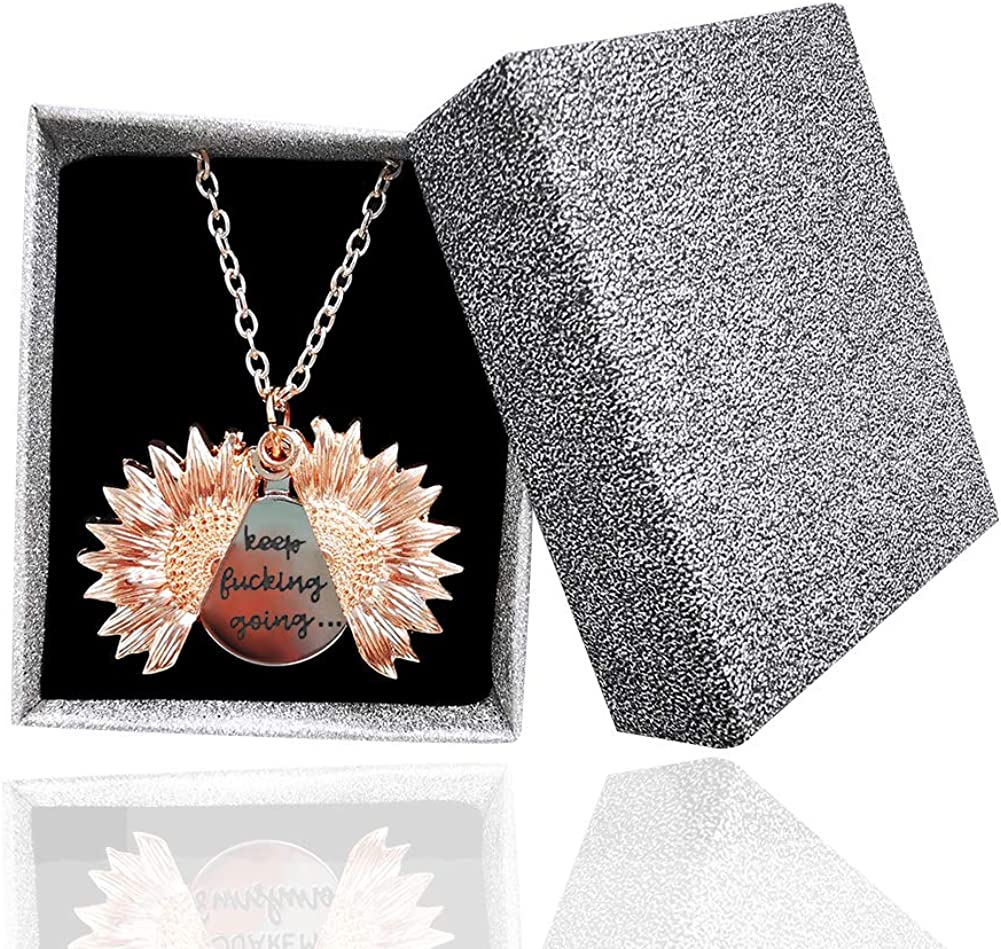 Sunflower Locket Necklace You are My Sunshine Engraved Pendant Necklace for Women Girls with Nice Gift Box