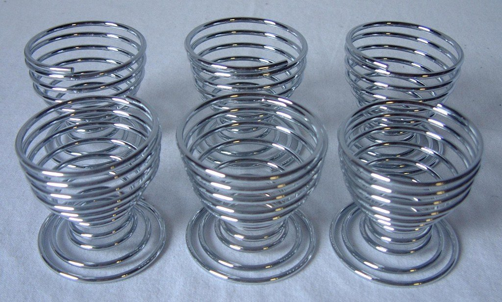 6 PC PIECE SPIRAL CHROME EGG CUP CUPS HOLDER Apollo AEQW-WER-AW133890