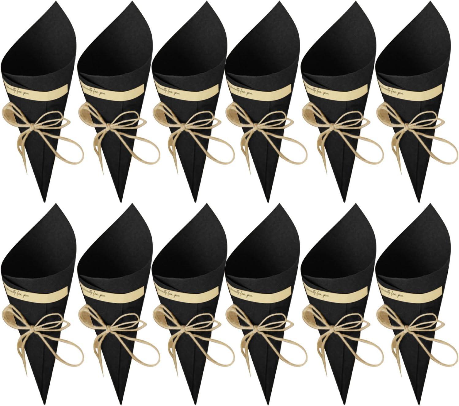 Gosear 50 Piezas Conos Boda - Bolso Boda para Confeti o Bolsa cucuruchos de Papel Kraft Cono de arroz, Cuerda de cáñamo, Cinta de Doble Cara, Etiqueta Adhesiva (Color Negro)