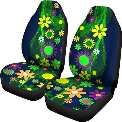 Muggalicious Car Seat Covers With Retro Vintage Hippie Flower Power Custom Design