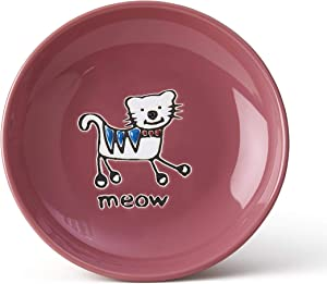 PetRageous 11035 Silly Kitty Dishwasher and Microwave Stoneware Cat Saucer 5-Inch Diameter 2.5-Ounce Capacity for Wet or Dry Cat Food Great For All Cats of All Sizes, Pink