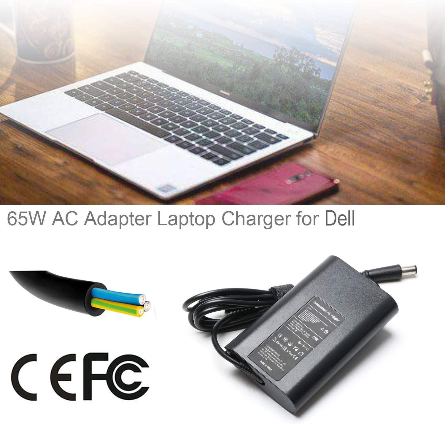 65W Laptop Charger PC Supply Power for /Dell inspiron PA-12 PA-2E 6400 6000 1000 1400 1501 1525 1520 15R N5010 M5040; Latitude 7380 7390 7480 7490 5480 5490 5488 5495 65w Power AC Adapter Charger