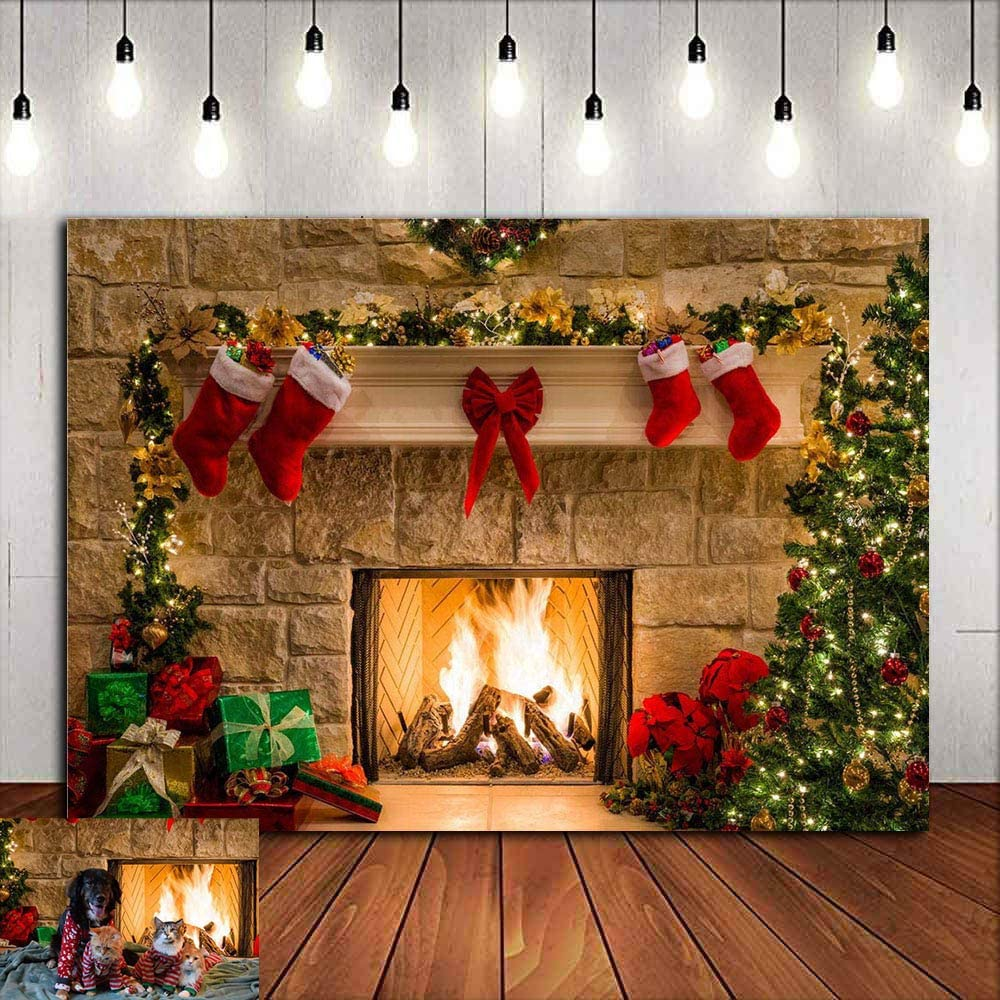 QERNTPEY Photo Backdrops Christmas Fireplace Theme Backdrop Snow Tree Gift Decorations for Xmas Party Supplies Photo Background Photographer Props Color : B, Size : 210X150cm