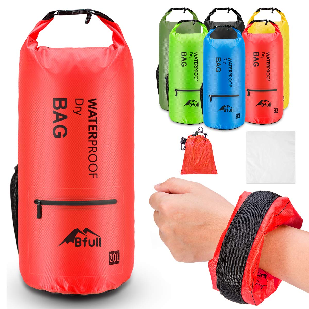 BFULL Waterproof Dry Bag 5L/10L/20L/30L/40L [Lightweight Compact] Roll Top Water Proof Backpack with 2 Exterior Zip Pocket for Kayaking, Boating, Duffle, Camping, Floating, Rafting, Fishing (Orange) by BFULL