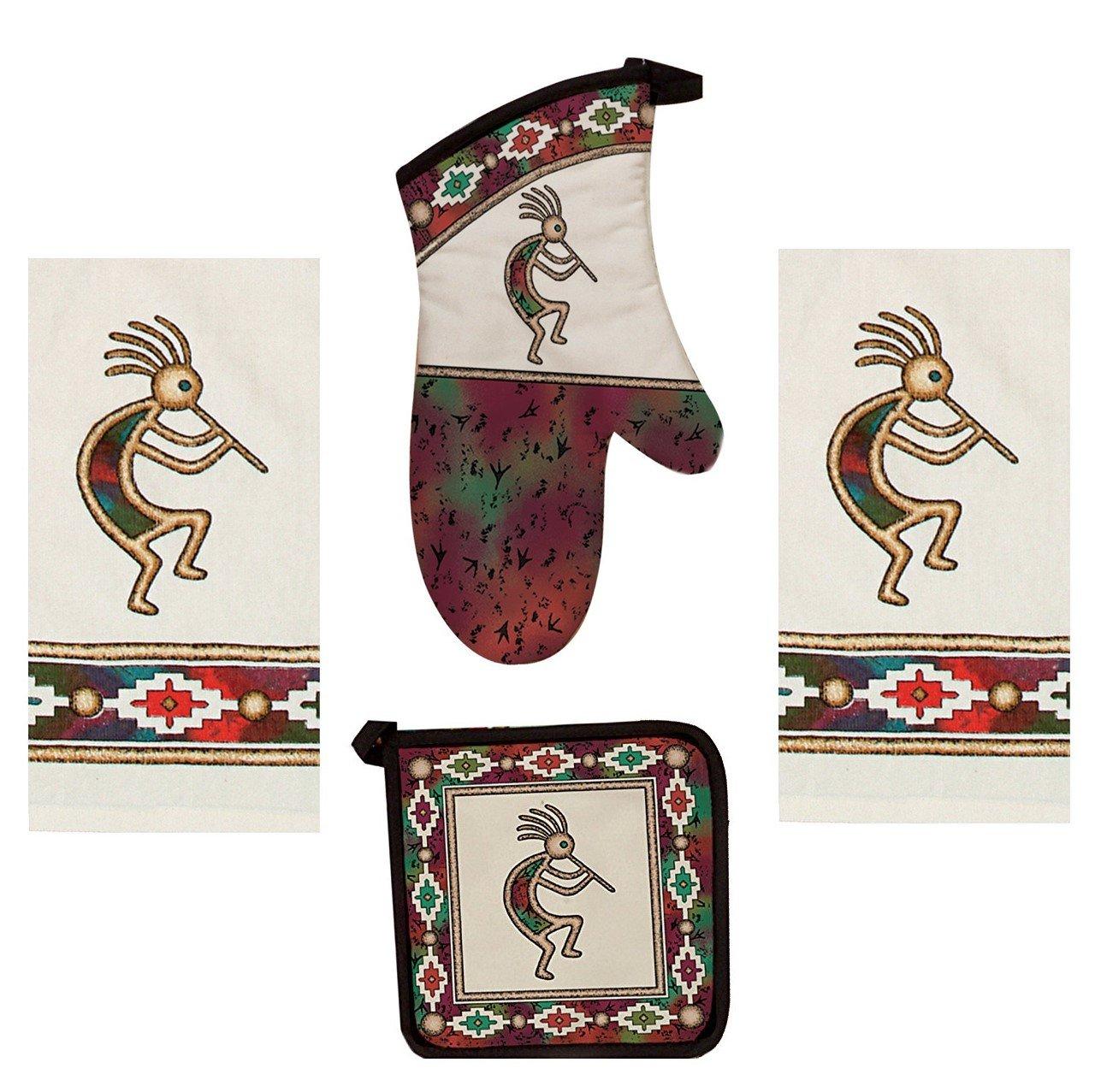Kay Dee 4 Piece Kokopelli Kitchen Set - 2 Terry Towels, Oven Mitt, Potholder (Canyon Dance Southwest)