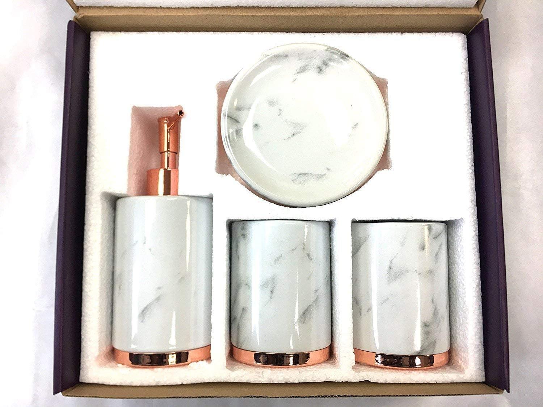 Amazon Com Wpm World Products Mart 4 Piece Set Marble White Home Kitchen