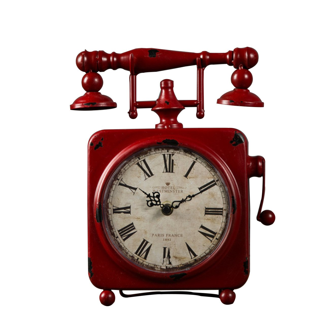 クロック クリエイティブレトロ鉄電話タイプテーブルクロックアメリカンスタイルは、リビングルームのカフェバーのホームオーナメント(23 * 30センチメートル) ウォールオーナメント (色 : 赤) B07F88MPXW赤