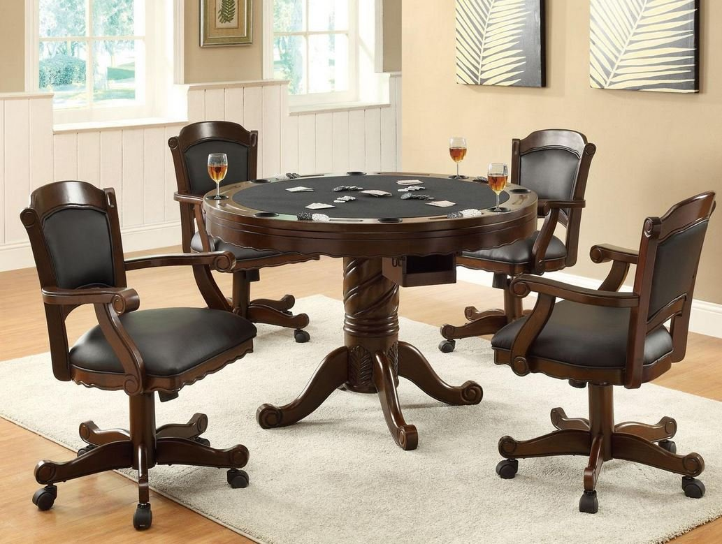 Kitchen Table And Chairs With Casters Amazon three in one chestnut poker bumper pool dining set amazon three in one chestnut poker bumper pool dining set by coaster furniture kitchen dining workwithnaturefo