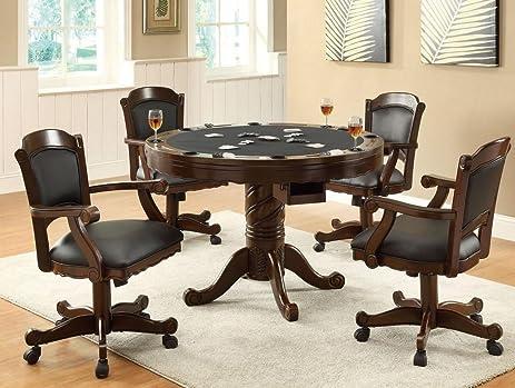 Amazoncom 3in1 Oak Finished Wood Poker Pool Game Dining