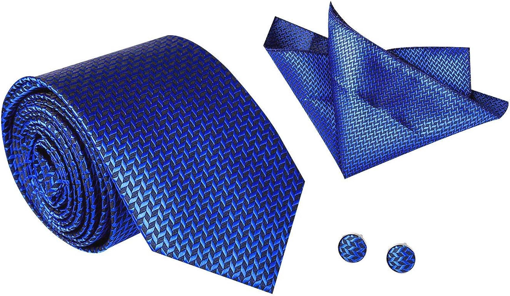 Higgs - Corbata Azul de Hombre 3 in 1 de Poliéster con Gemelos ...