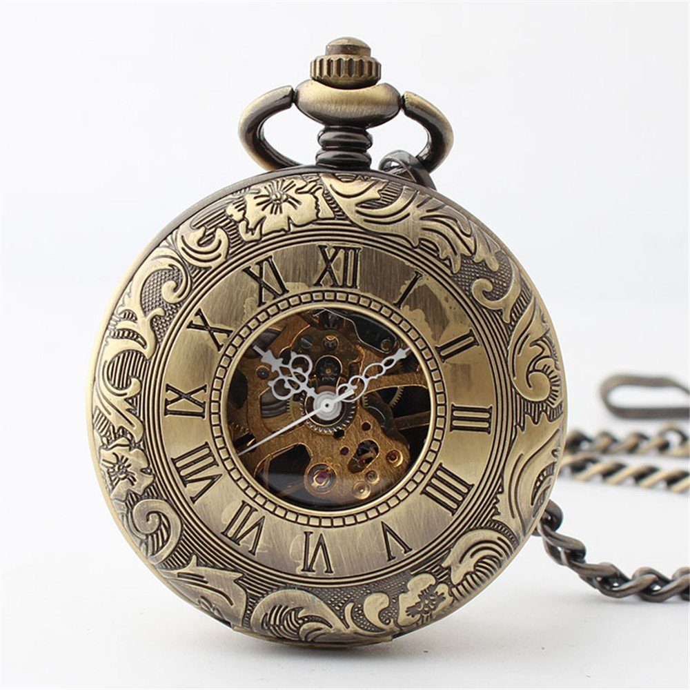 Zxcvlina Classic Smooth Retro Carving Mechanical Pocket Watch Boutique Unisex Pocket Watch Bronze with Chain for Gift Suitable for Gift Giving by Zxcvlina (Image #1)