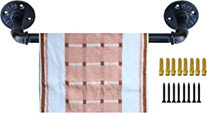 Industrial Pipe Towel Rack,Towel Bar Fixture Set,Bath Towel Holder Towel Horse,Napkin Hanger | Wall Mounted DIY Style, Coated Finish,18 Inch