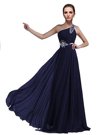 74f859cf54 DLFASHION One-Shoulder Floor Length Beaded Chiffon Prom Dress