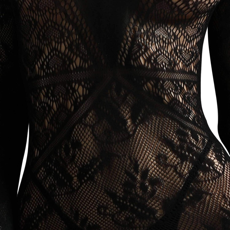 Long Sleeves Bodystockings Hollow Seethrough Net Nightwear ThriBartLive Women Fence Fishnet Bodysuit Lingerie Black