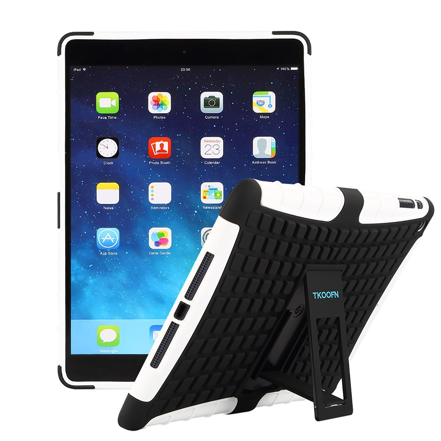 TKOOFN Heavy Duty Tough Shockproof with Stand Hard Case Cover For Apple iPad Air 2 Launched Oct. 2014 Free Cleaning Cloth Free Screen Protector PT5160 + Free Stylus Touch Pen Black
