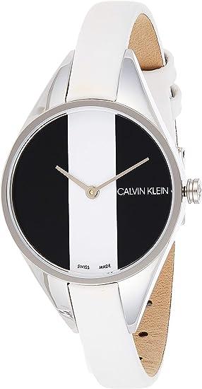 Calvin Klein Women's Stainless Steel Quartz Watch with Leather Strap, White, 8 (Model: K8P231L1)