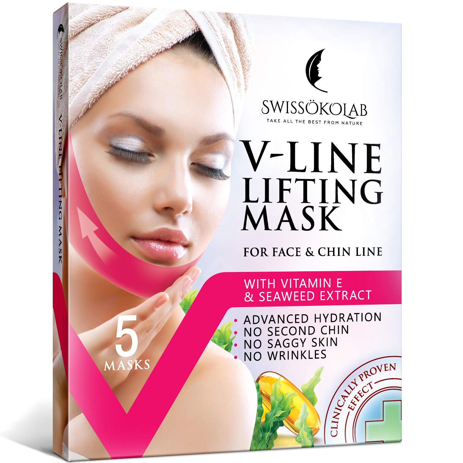 V Line Mask Chin Up Patch Double Chin Reducer Chin Mask V Up Contour Tightening Firming Face Lift Tape Neck Mask V-Line Lifting Patches V Shaped Slimming Face Mask 5