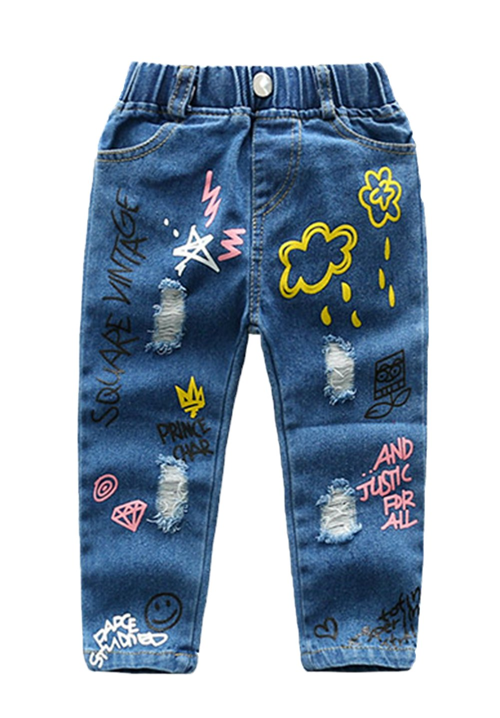 stylesilove Little Girls Ripped and Paint Design Jeans (100/2-3 Years)