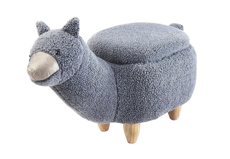 Kobolo Kinderhocker Fußhocker Alpaca mit Staufach im liebevollen Alpaka-Design