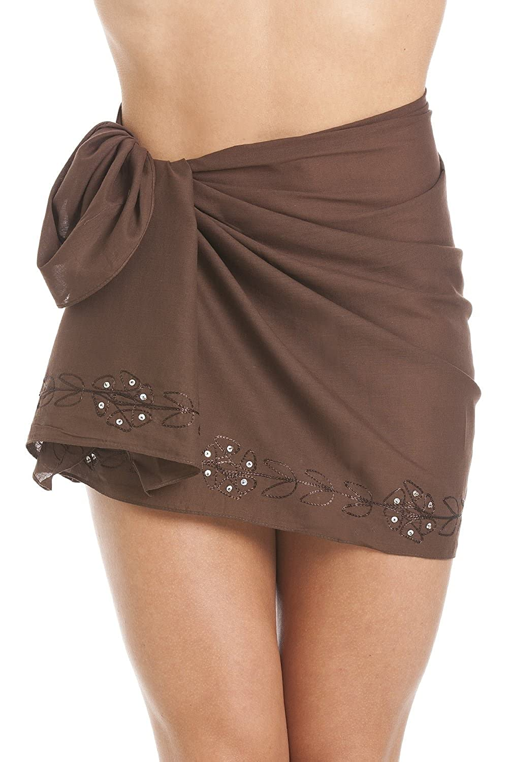 Camille Womens Ladies Brown Short Length Sarong with Floral Embroidery