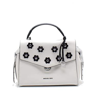 47891e677eaecb MICHAEL Michael Kors Bristol Medium Floral Applique Leather Satchel, Optic  White Black: Handbags: Amazon.com